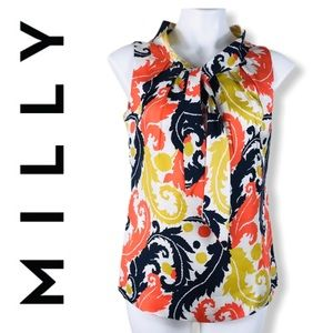 Milly New York Silk Paisley Floral Tie Blouse Top